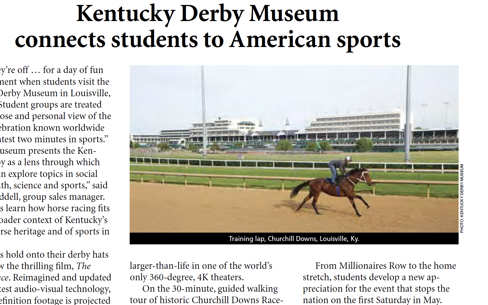 Kentucky Derby Museum connects students to American sports