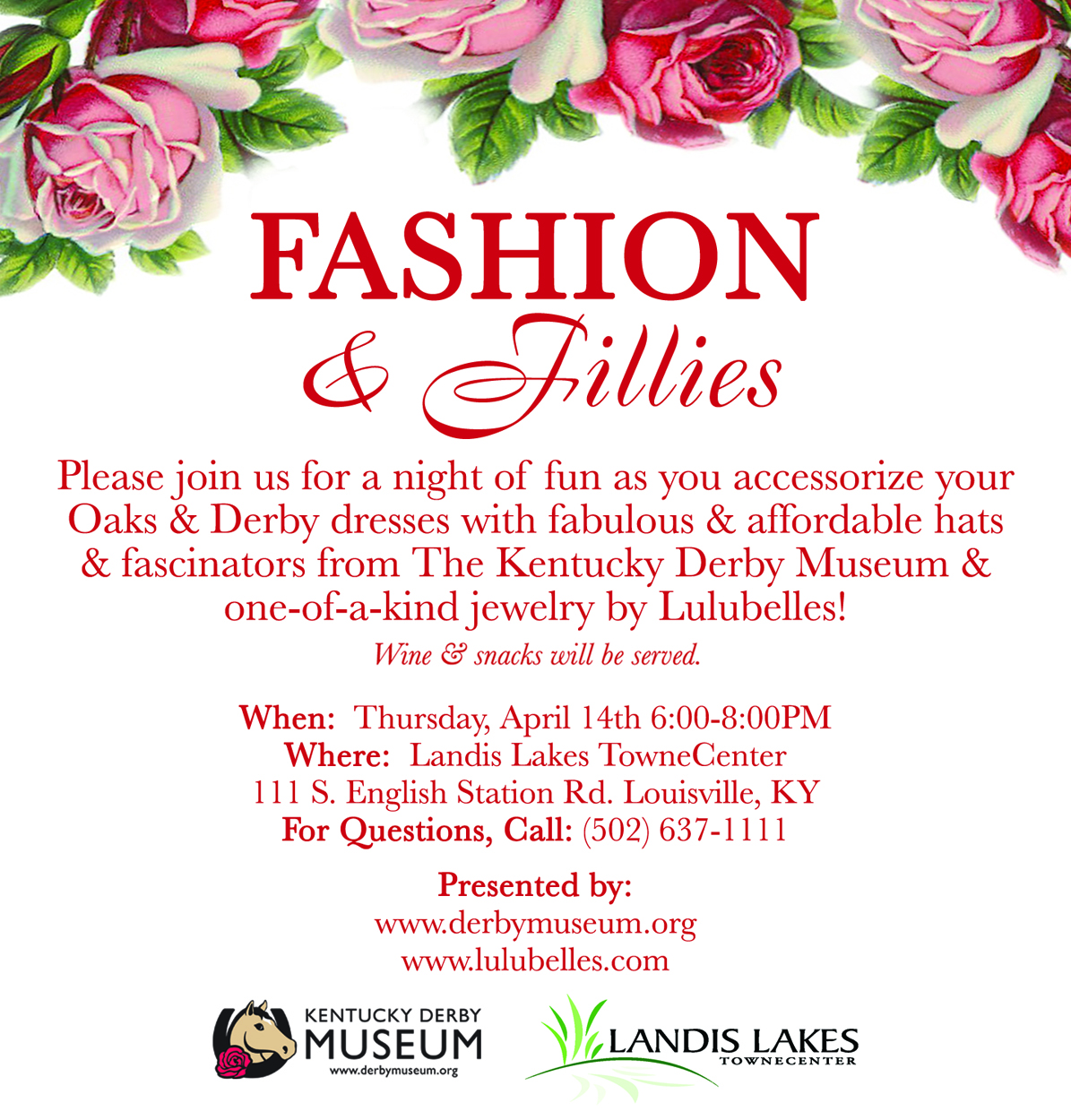 Fashion & Fillies at Landis Lakes - April 14th